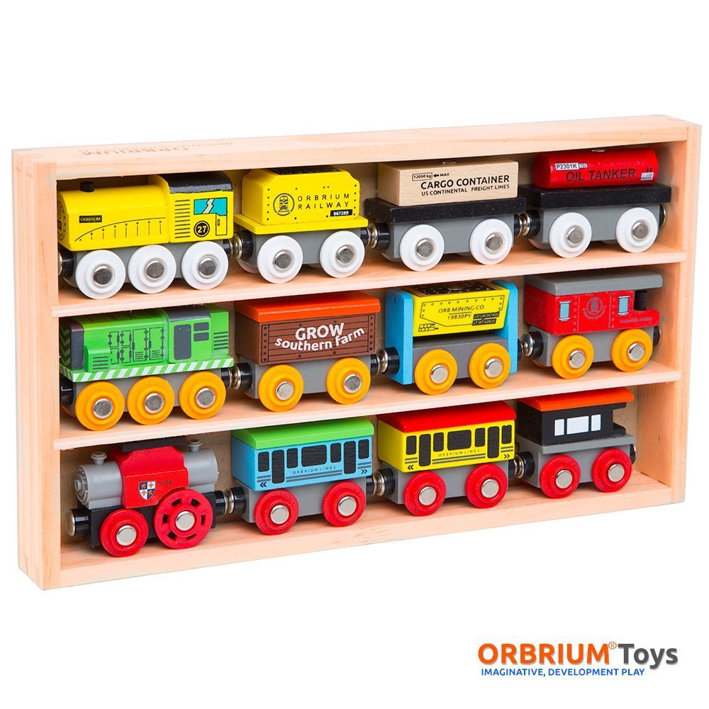 Orbrium Toys 12 Pcs Wooden Engines & Train Cars Collection Compatible with Thomas Wooden Railway, Brio, Chuggington by Orbrium Toys