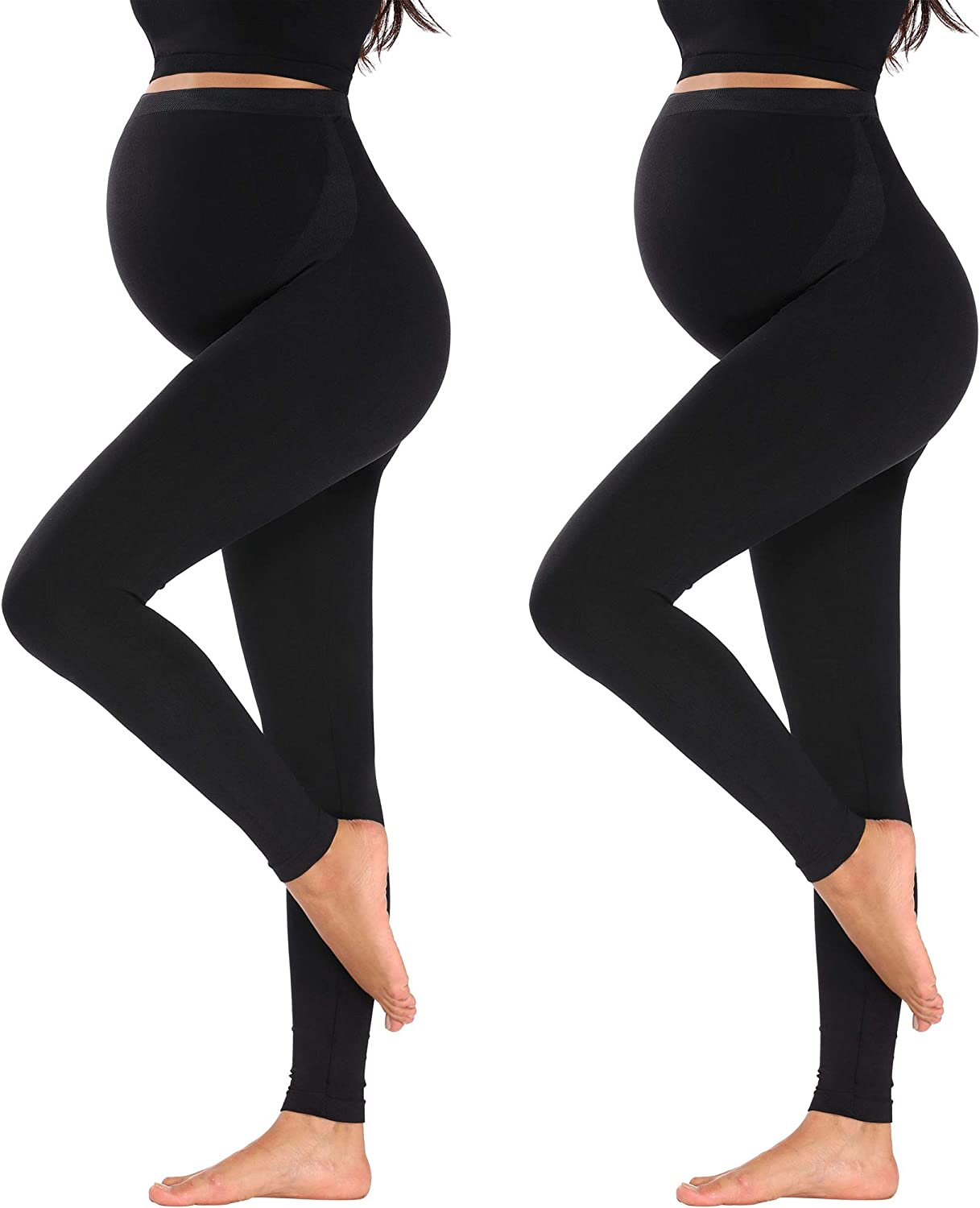Maternity Leggings Over The Belly Extra Pants Extender Not See Through Maternity Yoga Pants For All Stages Of Pregnancy At Amazon Women S Clothing Store