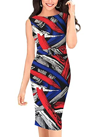 cc9f1d7fd8 BOKALY Womens Bodycon Party Dresses Casual Cocktail Multi Stripe Print Pencil  Dress 191 (Small