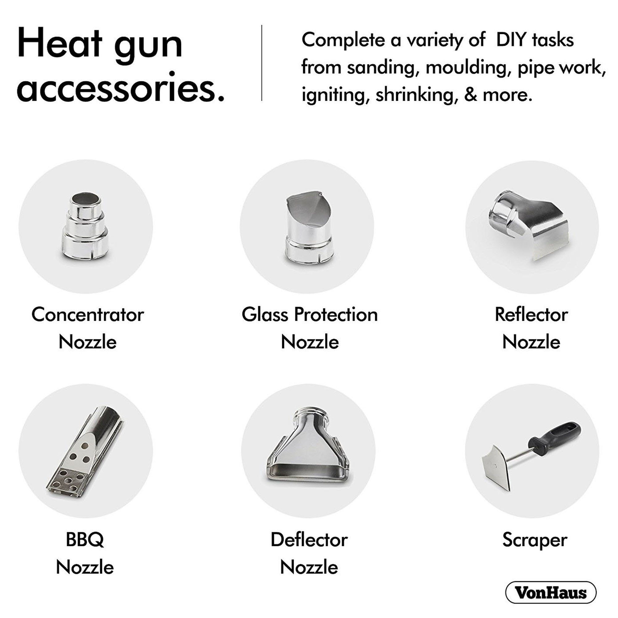 VonHaus 1500W Heat Gun Hot Air Gun with Variable Temperature Control, 3-Position Adjustable Handle and 5 Nozzle Attachments for Shrinking PVC, Removing Paint, Bending Pipes, BBQ Grills by VonHaus (Image #4)