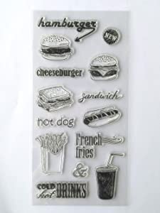 MaGuo Food Clear Stamps Hamburger Sandwiches French Fries Hot Dog Cling Stamps for Card Making Decoration and Scrapbooking