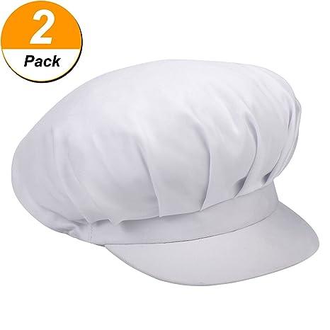 2 Pezzi Chef Cappello Cappelli da Cuoco Bianco Traspirante da Cucina  Cappuccio di Lavoro Regolabile Cappelli 4329249628d5