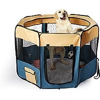 """PaWz 8 Panel Pet Playpen Dog Puppy Play Exercise Enclosure Fence Blue M Blue 36""""(91cm x 56cm)"""