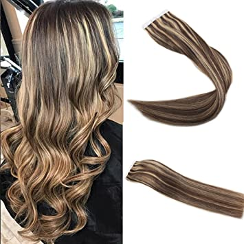 Amazon Com Easyouth 14 Pu Tape In Hair Color 3 Dark Brown And