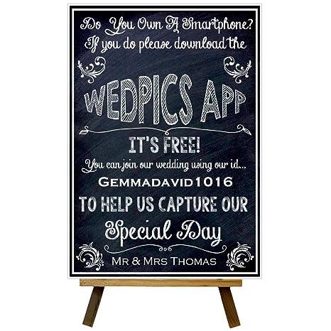 Personalizado Pizarra Estilo Join Wedpics App boda señal ...
