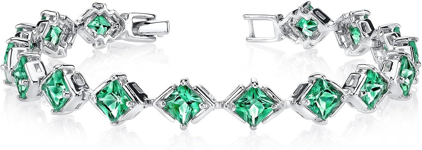 Simulated Emerald Bracelet Sterling Silver Princess Cut 7.50 Carats