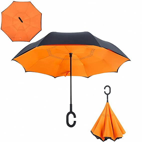 Amazon.com : Baolustre Folding Reverse Umbrella Double Layer Inverted Windproof Rain Car Umbrellas For Women Orange : Garden & Outdoor