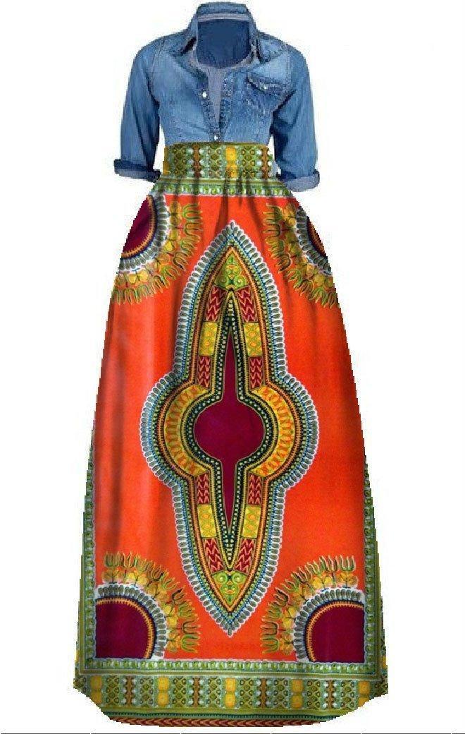 Rotita Women Dashiki Skirt Dress Plus Size African Long Maxi Flared A Line Skirt Ball Gown