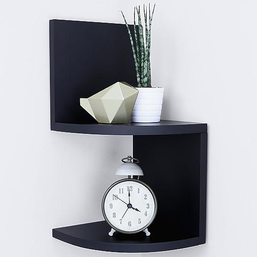 Ballucci Small Corner Shelf 2 Tier 5 pcs 7.75 x 7.75 Per Tier Black Floating Wood Corner Shelves for Bathroom Living Room or Office