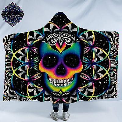 """Chaos by Brizbazaar Skull Hooded Blanket Bohemian Neon Skull Wearable Sherpa Cozy Blanket Galaxy Fleece Blanket for Boys Men (Adults 60""""x 80""""): Home & Kitchen"""