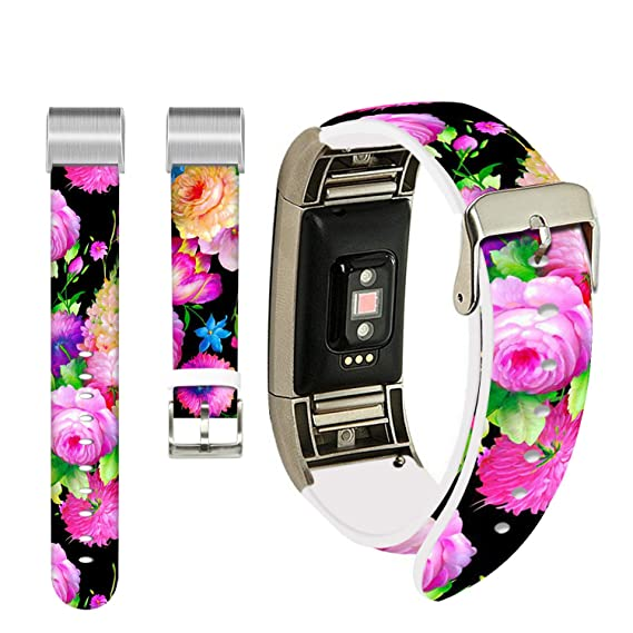 Amazon com: Floral Band for Fitbit Charge 3,Ecute Replacement Band
