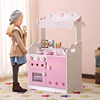 HILIROOM Kids Kitchen Playset Wooden | Shopping Kitchen Toy | Little Chef Wooden Play Kitchen with 30+ Kitchen Pretend Play Accessories Toys Pink for Toddlers Girls Ages 3+