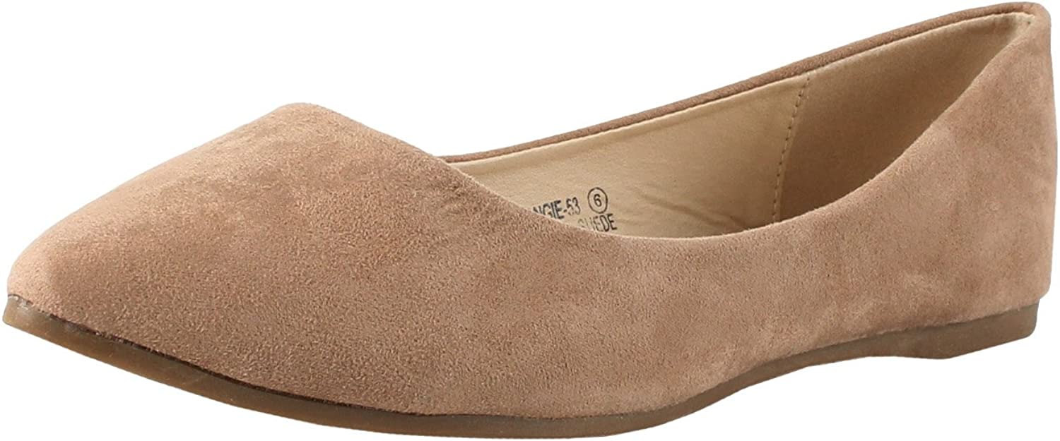 Bella Marie Angie-53 Women's Classic Pointy Toe Ballet Slip On Flats Shoes,Color:Taupe,Size:7