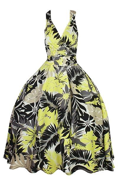cd50cd830 Mujer Retro Vintage Rockabilly Pin- Up Vestido Con Vuelo Fiesta Vestido De  Flores - Verde