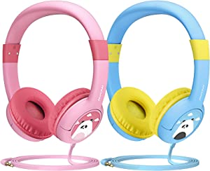 Mpow CH1 Kids Headphones w/85dB Volume Limited Hearing Protection & Music Sharing Function, Kids Friendly Safe Food Grade Material, Tangle-Free Cord, Wired On-Ear Headphones for Children (2-Pack)