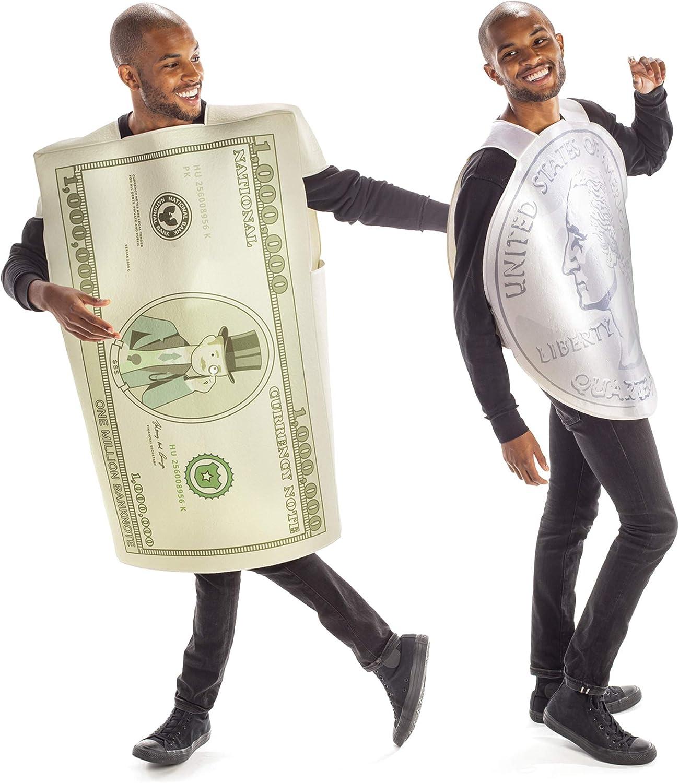 Dollars & Cents Halloween Couples Costume - Funny Adult Quarter & Million Bucks
