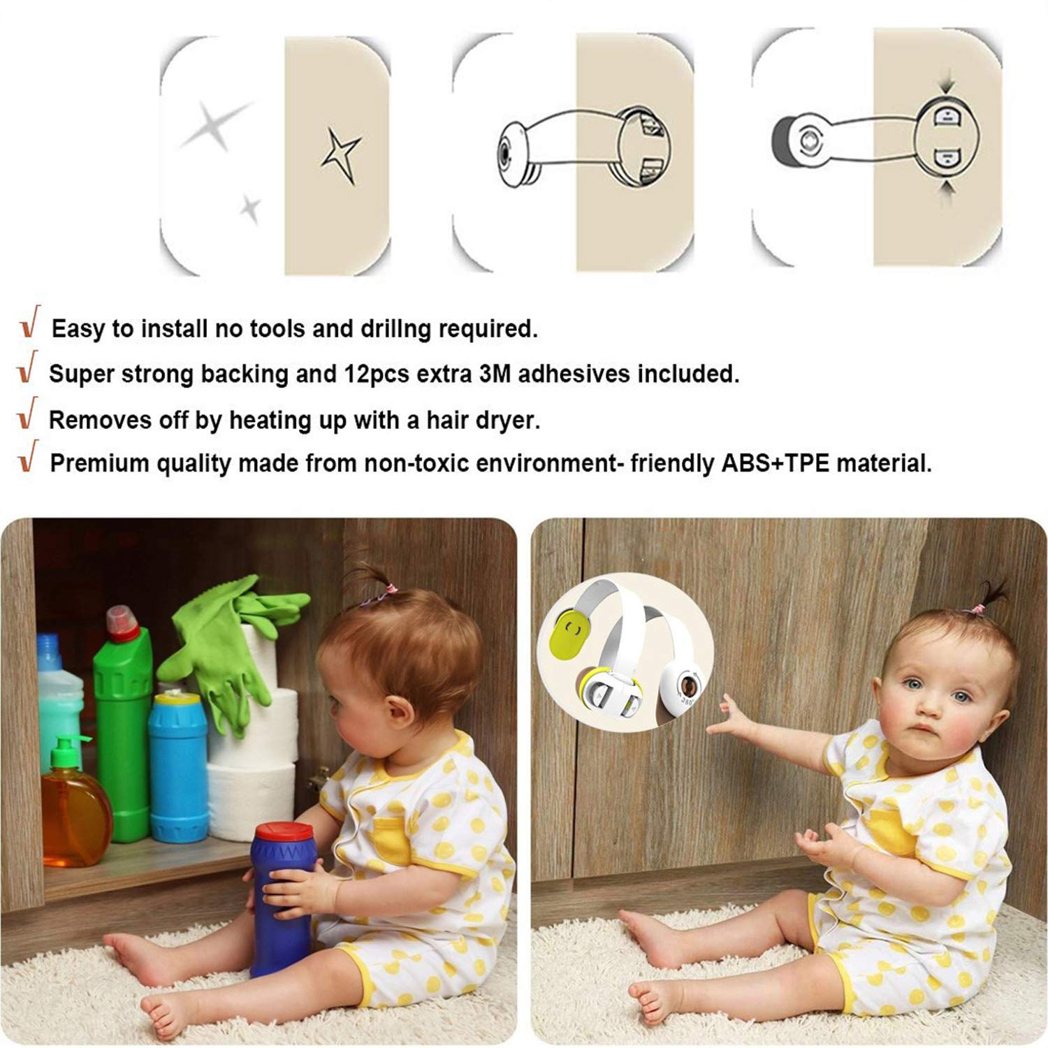 Toilet Seat Child Safety Cupboard Locks Pack of 6,Baby Proof Cabinets Drawers Fridge and Oven Uses 3M Adhesive with Latch System Appliances Tools Not Required