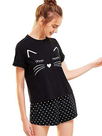 SOLY HUX Mujer Conjunto de Pijamas con Estampado de Gato Camiseta Manga Cortas y Pantalones Cortos: Amazon.es: Ropa y accesorios