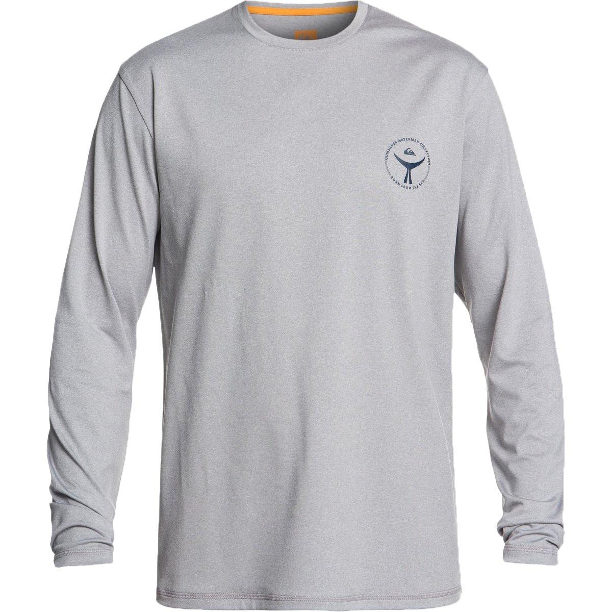 Quiksilver Waterman Men's Watermark LS 50+ UPF Long Sleeve Rashguard, Grey Marl, L