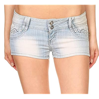 4ever Young Sexy Denim Short Rhinestone Embellished (7) at Women's Clothing store