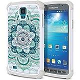 Samsung Galaxy S4 Active I537 I9295 Case, Fincibo (TM) Dual Layer Shock Proof Hybrid Hard Protector Cover Anti-Drop Silicone Star Studded Rhinestone Bling, Blue Flower Mandala