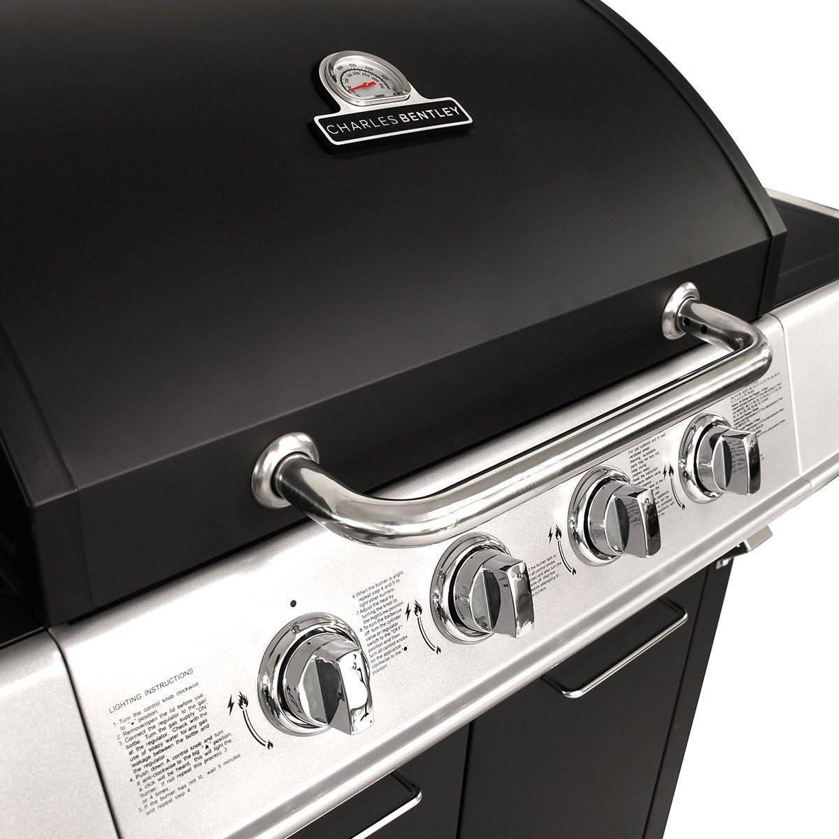 Charles Bentley Premium 5 Quemadores de Gas Barbacoa en Negro Con 1 la Lado Acodado Doble de la Capilla