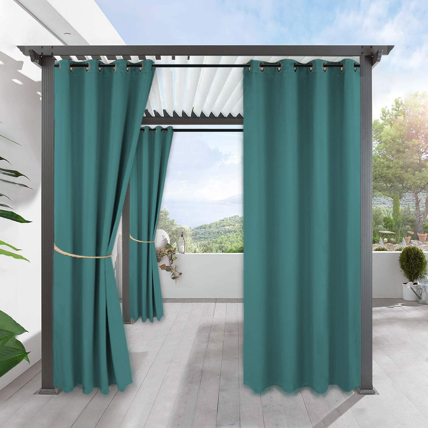 RYB HOME Outdoor Curtains Waterproof - Blackout UV Protection Indoor Outdoor Patio Curtains Weatherproof Thermal Insulated Panel for Pavilion Gazebo Porch, 1 Pc, W 52 x L 84 inches, Teal