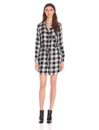 Kensie Women's Herringbone Plaid Dress, Grey Dusk Combo, X-Small