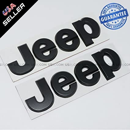 Us85 matte black 3d jeep hood trunk tailgate emblem logo stickers badge set 2pcs