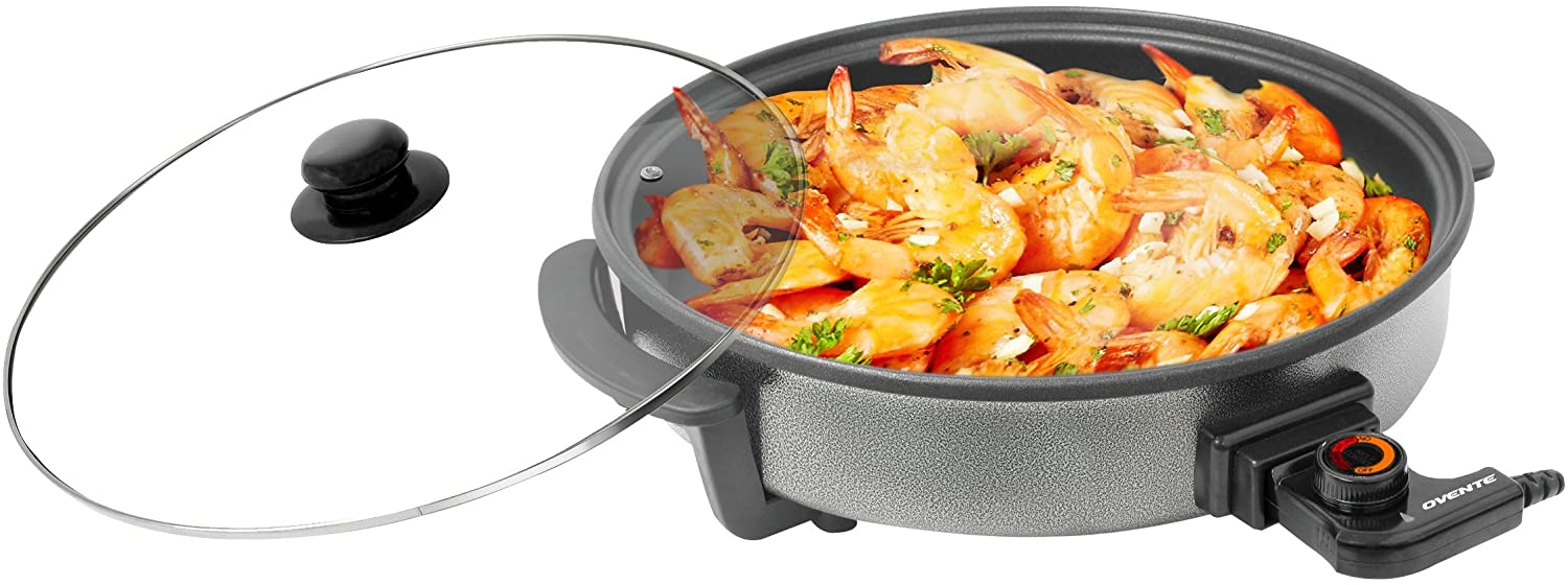 Ovente Round Electric Frying Pan Skillet, Granite with Tempered Glass Lid and Thermostat Control, 12inch Diameter (SK10112B)
