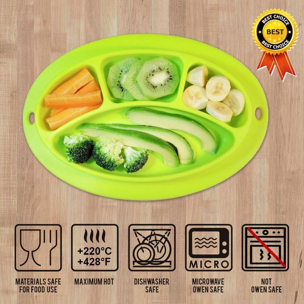 INCHANT Kids Silicone Placemat and Baby Plate Tray for Infants toddlers Kids and Chidern,Highchair Feeding Tray Placemat Bowl, Non slip Toddler Feeding Plate Mat - FDA Approved ,Easy to Clean E-Thriving