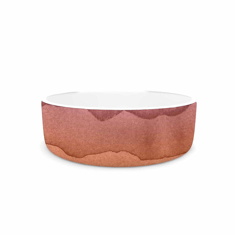 KESS InHouse KESS Original Ombre Sunrise  orange Watercolor Pet Bowl, 7