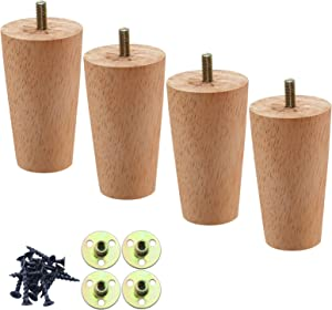 4 Inch Round Solid Wood Furniture Feet, Wooden Sofa Legs Set of 4, Chair Legs, Replacement Couch Legs for Armchair, Cabinet, Mid Century Modern Dresser Or Home DIY Projects Bun Feet