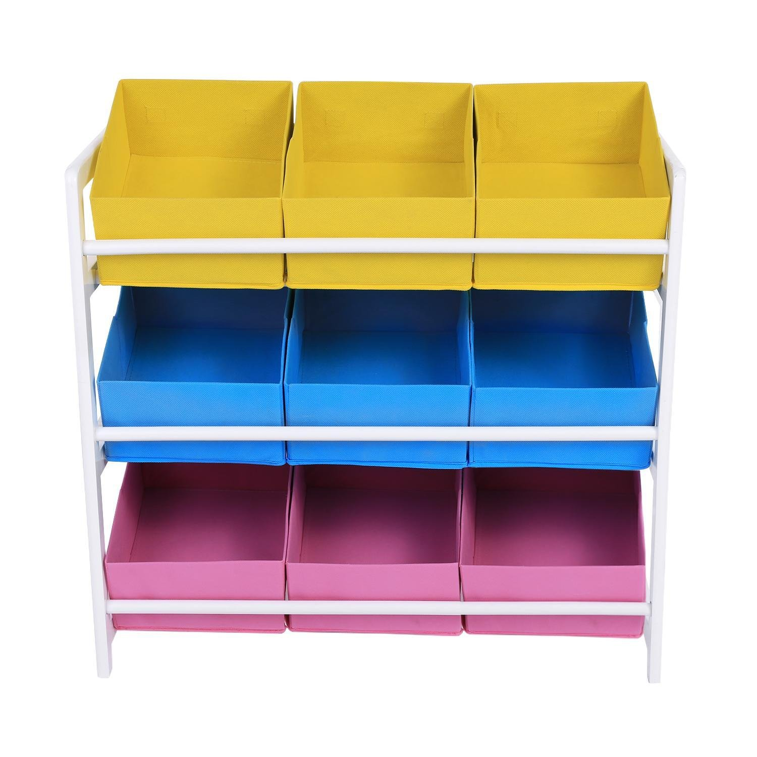 Children 3 Tier Toy Organizer with 9 Non-woven Fabric Storage Bins, Mobile Cart Bins for Home Kids Room (Multi-Color)