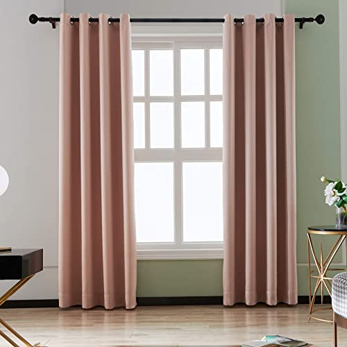 bluCOASTLINE Blackout Curtains Made of Glossy Fabric Thermal Insulated Grommet Solid Window Curtains Drape