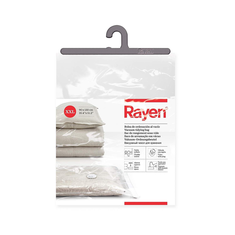 Transparente 55 x 90 cm y 80 x 100 cm Rayen Fundas de almacenaje de ropa al vacio Bolsas al vac/ío para ropa Pack de 2 bolsas