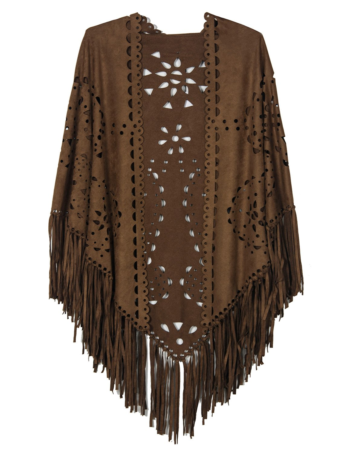 CHOiES record your inspired fashion Women's Choies Women's Coffee Suedette Laser Cut Fringed Cape Coat Shawl Wrap Scarf
