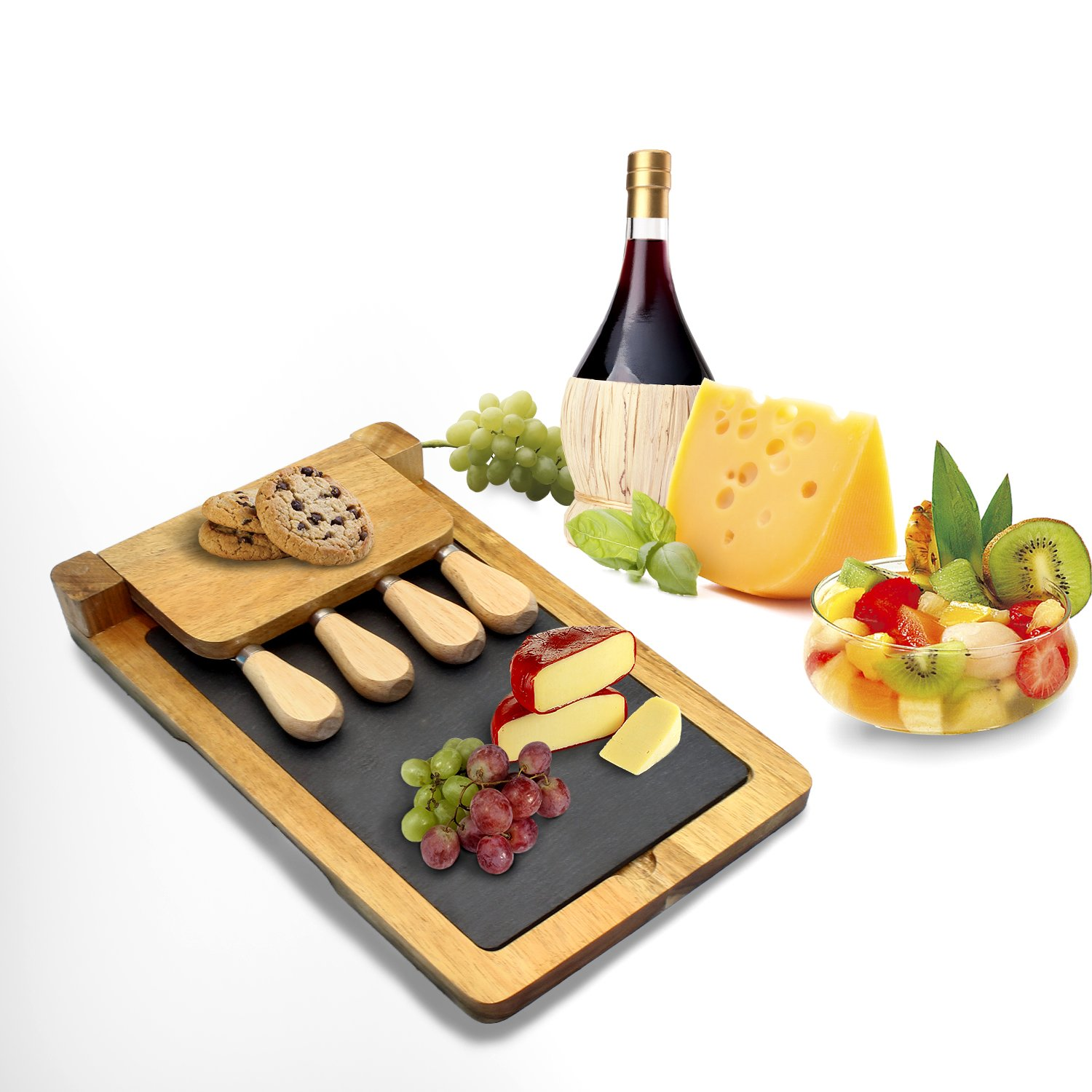 """Zen Kitchen Acacia Wood Cheese Board Set with Removable Slate Cheese Board, Comes with Full Cultery Set and Non-Slip Feet with Foldable Easy Storage Design,Great House Warming Gift, 12""""x 8"""""""