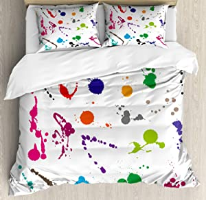 Lunarable Colorful Duvet Cover Set, Abstract Paint Splashes on White Background Expression Creativity Theme, Decorative 3 Piece Bedding Set with 2 Pillow Shams, Queen Size, Green White