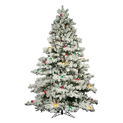 flocked alaskan full pre lit christmas tree