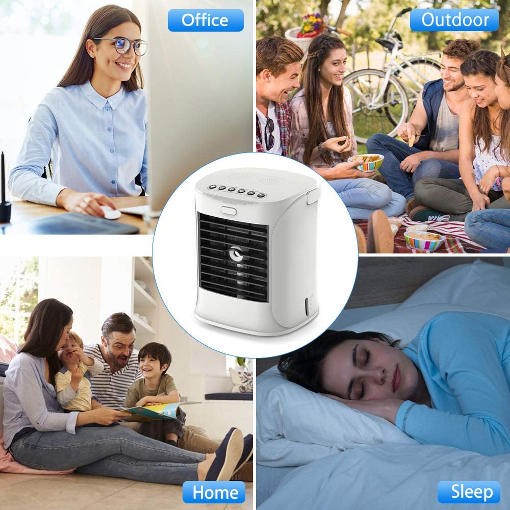 Ufficio Climatizzatore Portatile USB 5 in 1 Personale Condizionatori Ventilatore Evaporativoa Silenzioso 3 Velocit/à per Casa Mini Raffreddatore Daria