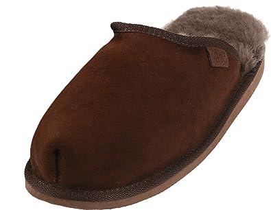 Extra Dicke Lammfell Pantoffeln mit Ledersohle Für Damen und Herren, Farben:Braun, Schuhgröße:42