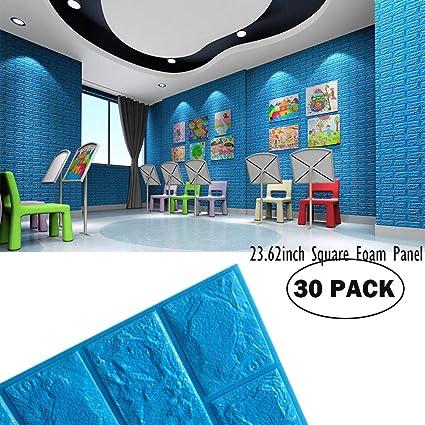 Boys Room Wall Decor Foam Brick Wall Panels Blue Color, 3D Foam Brick Peel  And