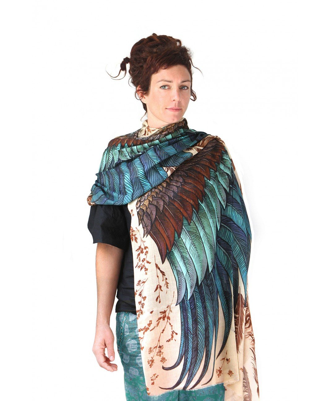 Bird Feathers Scarf, Silk & Cashmere Exotic Feathers Women's Scarf, Wrap by Shovava (Image #4)