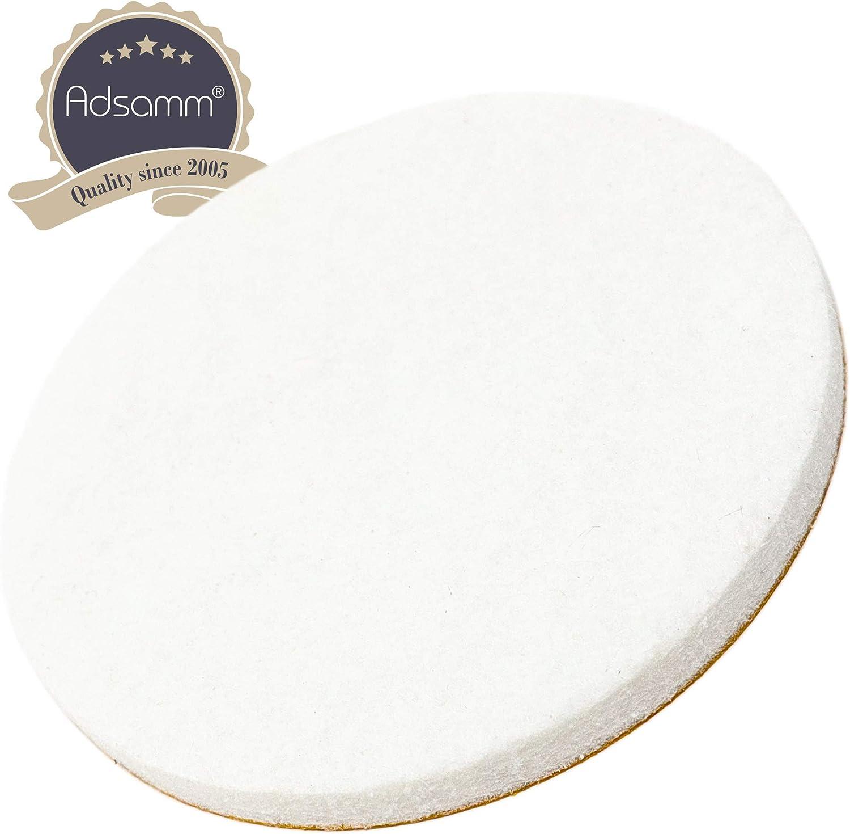 Blanc /Ø 60 mm Adsamm/® /Échelle en feutre 5,5 mm d/épaisseur Patins de meubles autocollants de qualit/é sup/érieure de la marque Adsamm/® Rond