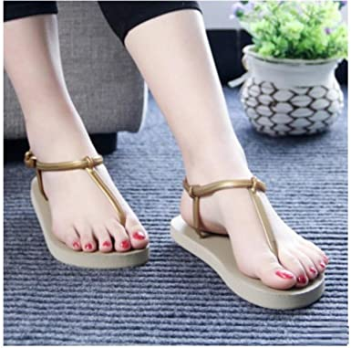 e95c53f65c46 Image Unavailable. Image not available for. Color  Women T Stripe Summer  Flat Sandals female Gladiator Sandals Basic Slippers Flip Flops Beach Shoes  ...