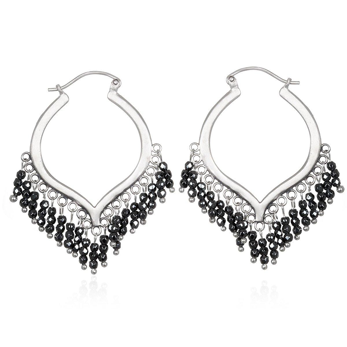 Satya Jewelry Hematite Sterling Silver Chandelier Hoop Earrings
