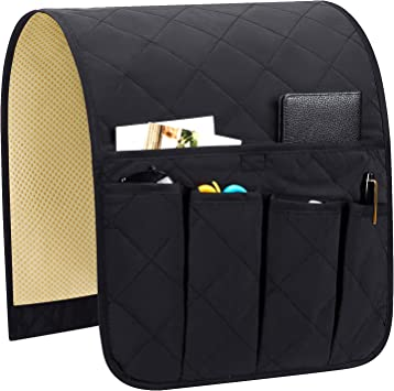 Ipad Naturoom Sofa Armrest Organizer Magazines Non-Slip Couch Caddy Armchair Arm Chair Caddy with 6 Pockets Armchair Caddy forSmart Phone TV Remote Control Holder (Black ,19 x 35) Book
