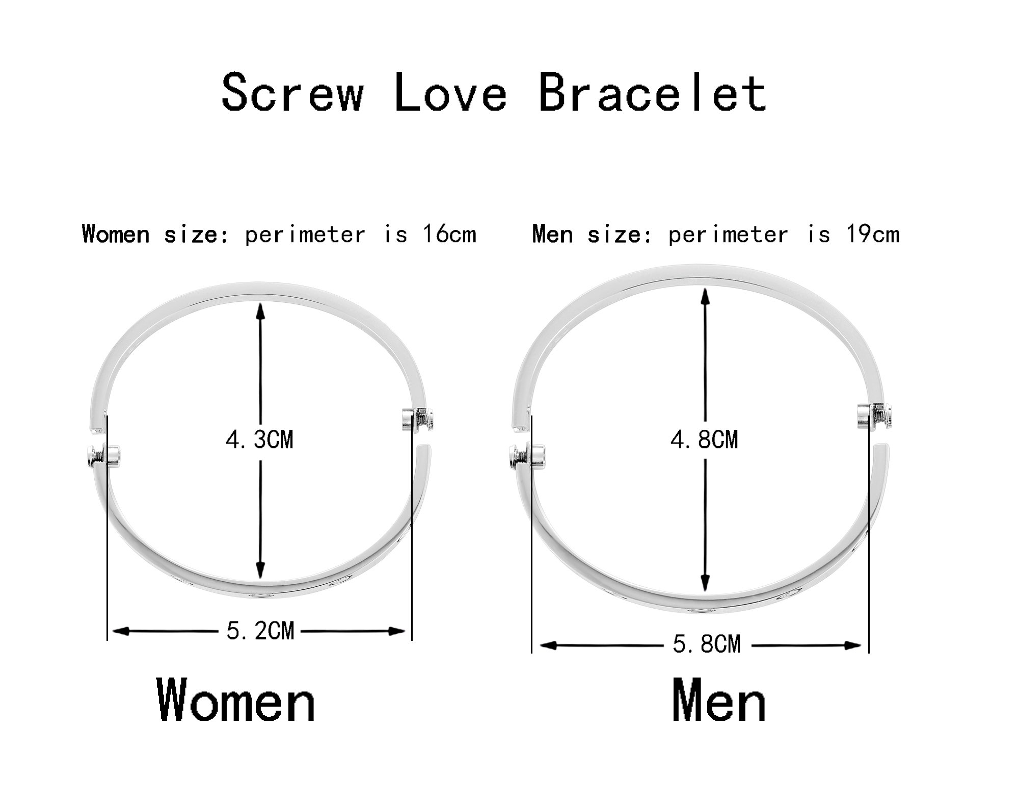 Z.RACLE Love Bangle Bracelet Stainless Steel with Screw - Best Gift for Love - 6.3IN White Gold by Z.RACLE (Image #4)