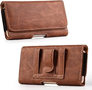 LUXMO Classic Leather Case for iPhone 6 Horizontal Shockproof Flip Cover Protective Holster Pouch [Belt Clip + Belt Loops + Magnetic Closure] Compatible with iPhone 6/6s/7/8 Wallet Case (Brown)